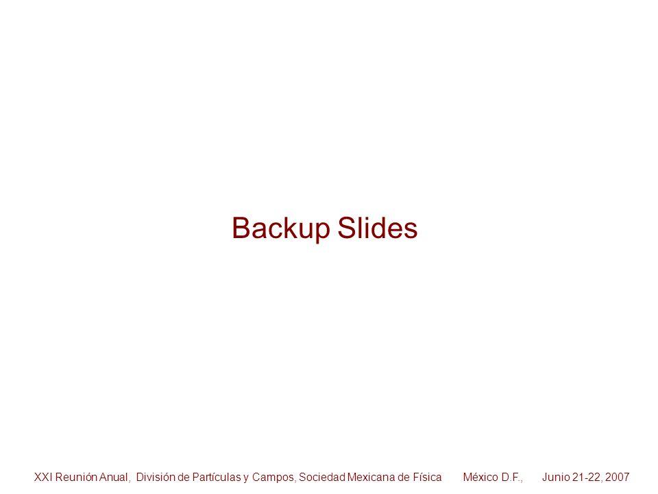 Backup Slides XXI Reunión Anual, División de Partículas y Campos, Sociedad Mexicana de Física México D.F., Junio 21-22, 2007