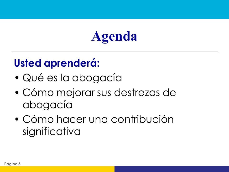 Agenda Usted aprenderá: Qué es la abogacía Cómo mejorar sus destrezas de abogacía Cómo hacer una contribución significativa Página 3