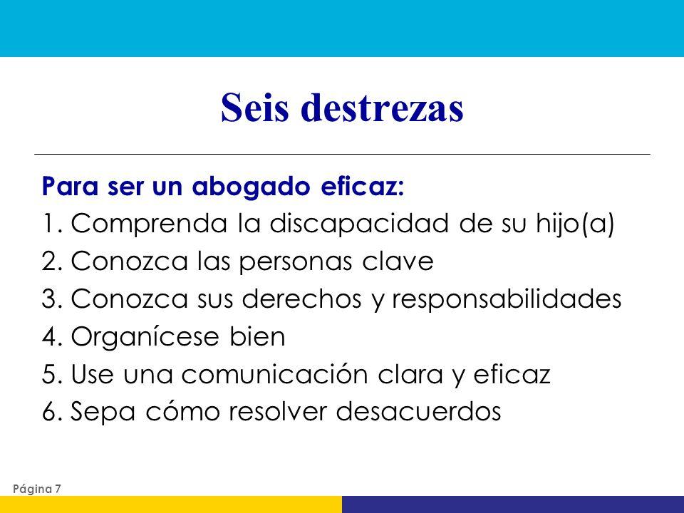 Seis destrezas Para ser un abogado eficaz: 1. Comprenda la discapacidad de su hijo(a) 2. Conozca las personas clave 3. Conozca sus derechos y responsa