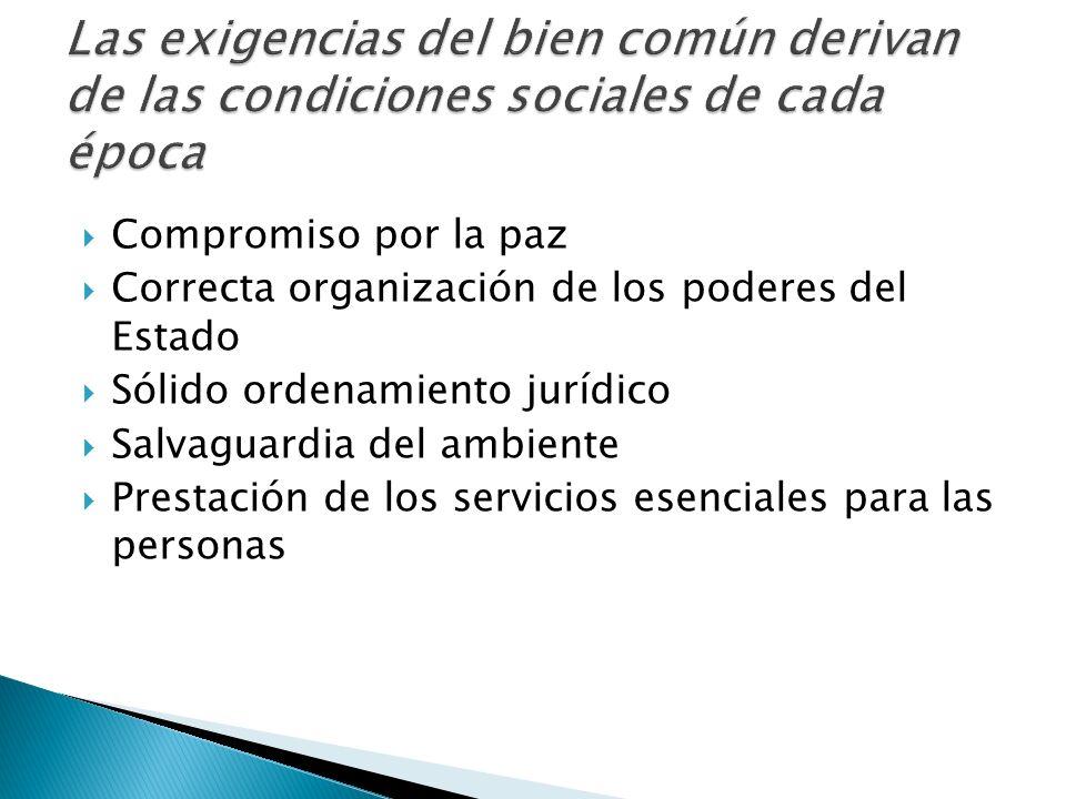 Compromiso por la paz Correcta organización de los poderes del Estado Sólido ordenamiento jurídico Salvaguardia del ambiente Prestación de los servici