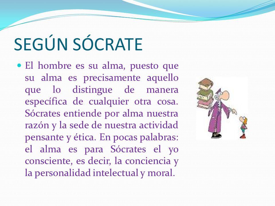 SEGÚN SÓCRATE El hombre es su alma, puesto que su alma es precisamente aquello que lo distingue de manera específica de cualquier otra cosa. Sócrates