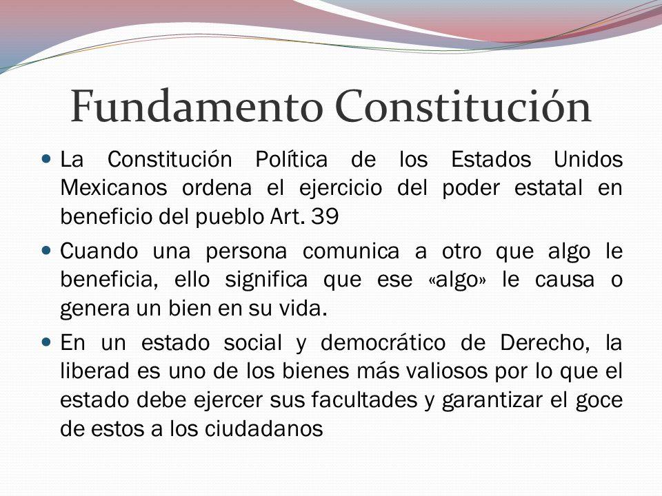 Fundamento Constitución La Constitución Política de los Estados Unidos Mexicanos ordena el ejercicio del poder estatal en beneficio del pueblo Art. 39