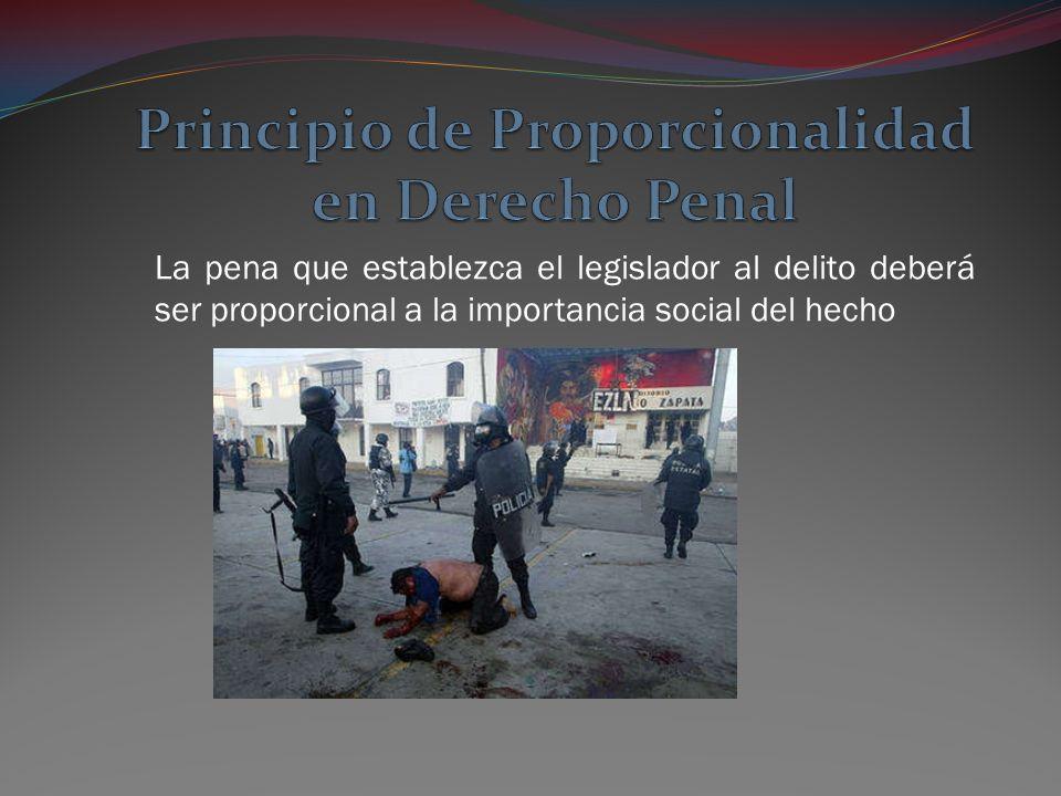 La pena que establezca el legislador al delito deberá ser proporcional a la importancia social del hecho