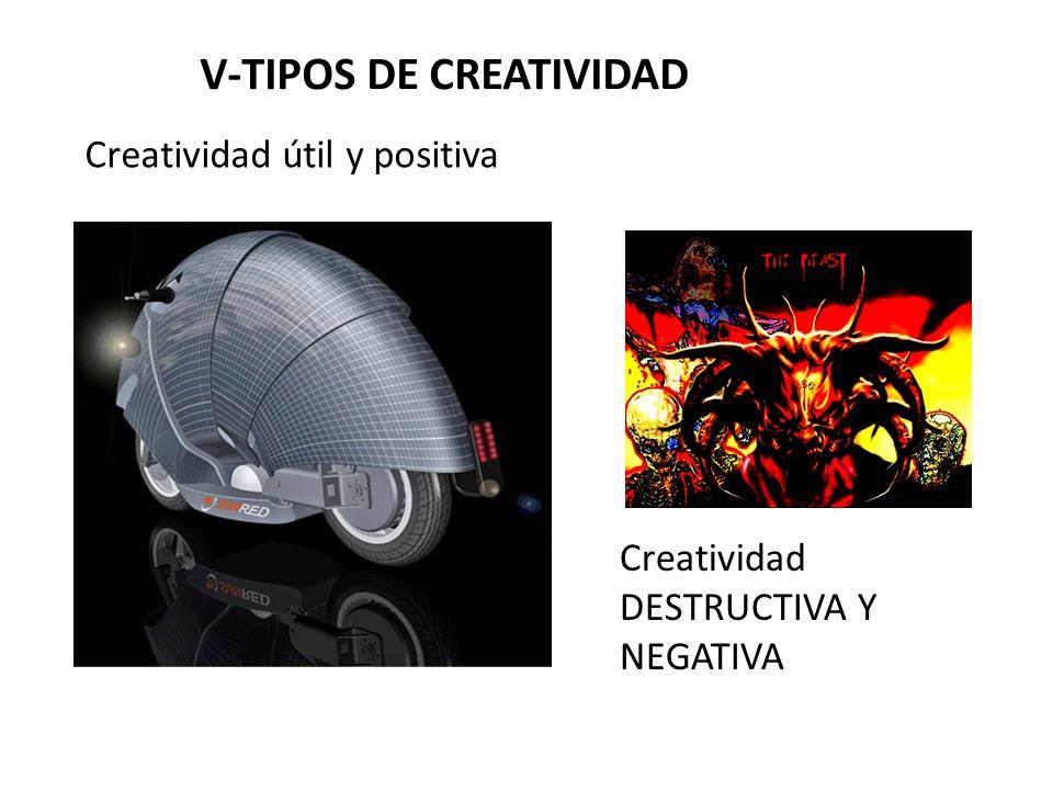 V-TIPOS DE CREATIVIDAD Creatividad DESTRUCTIVA Y NEGATIVA Creatividad útil y positiva