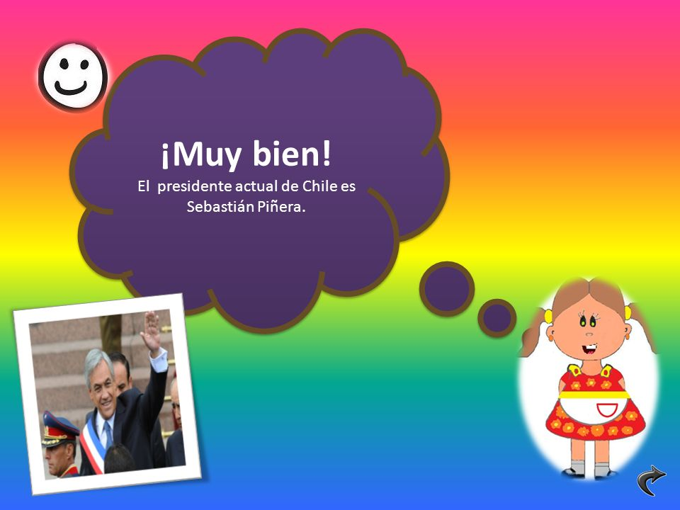 ¡Muy bien! El presidente actual de Chile es Sebastián Piñera. ¡Muy bien! El presidente actual de Chile es Sebastián Piñera.