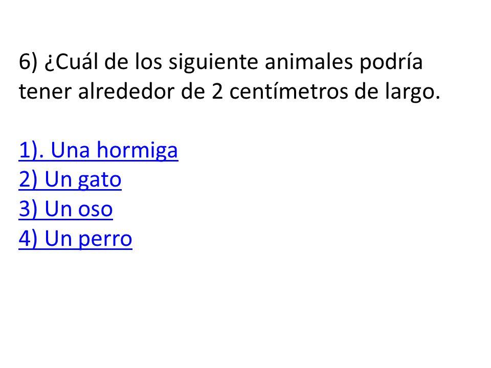 6) ¿Cuál de los siguiente animales podría tener alrededor de 2 centímetros de largo.