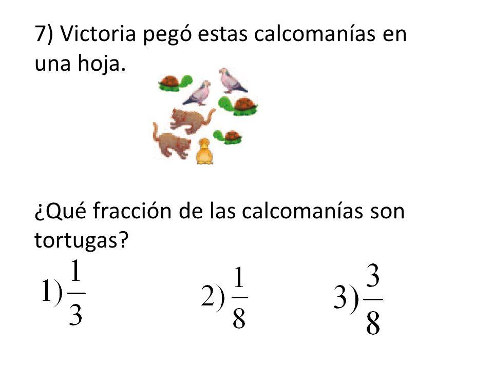 7) Victoria pegó estas calcomanías en una hoja. ¿Qué fracción de las calcomanías son tortugas?