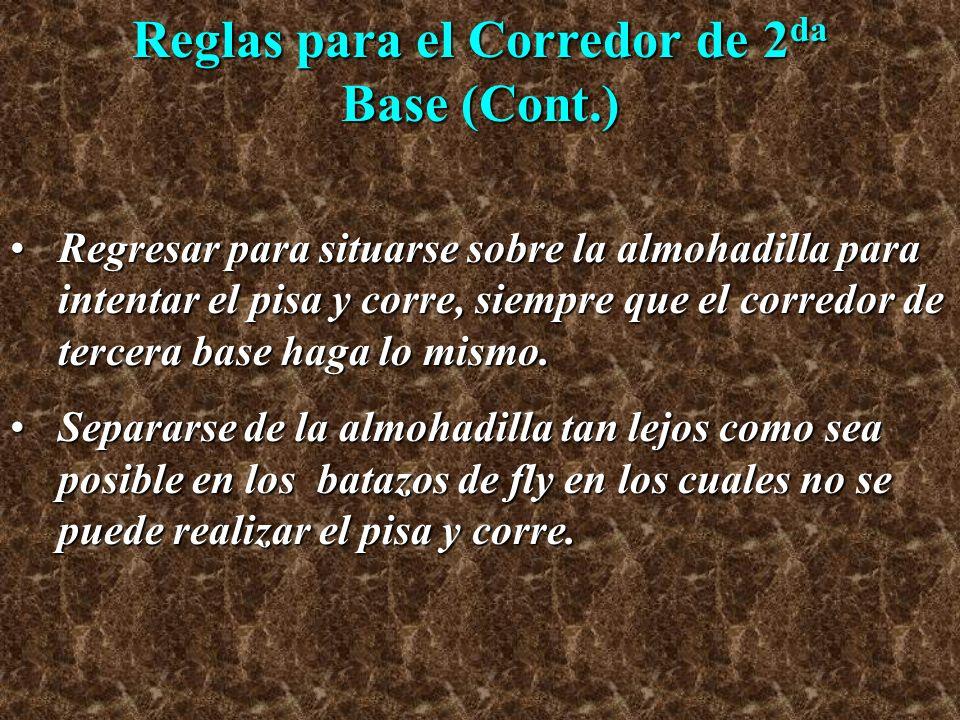 Reglas para el Corredor de 2 da Base (Cont.) Regresar para situarse sobre la almohadilla para intentar el pisa y corre, siempre que el corredor de ter