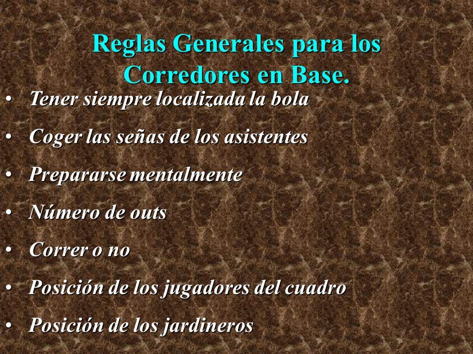 Reglas Generales para los Corredores en Base. Tener siempre localizada la bolaTener siempre localizada la bola Coger las señas de los asistentesCoger
