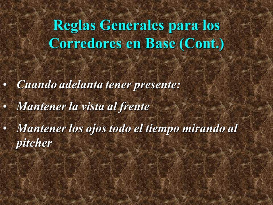 Reglas Generales para los Corredores en Base (Cont.) Cuando adelanta tener presente:Cuando adelanta tener presente: Mantener la vista al frenteMantene