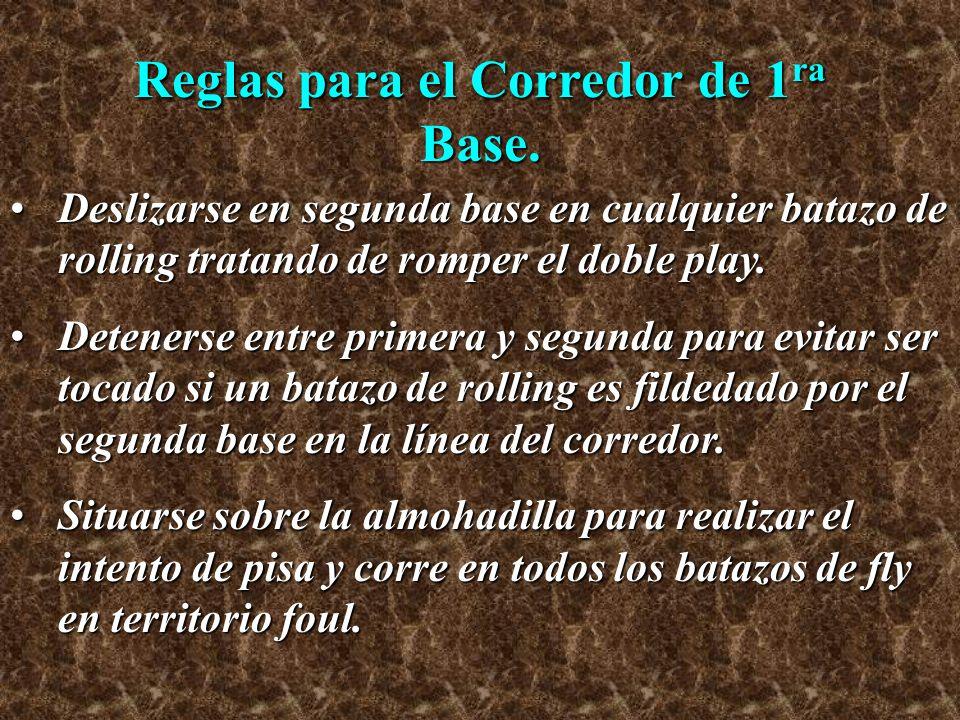Reglas para el Corredor de 1 ra Base (Cont.) Realizar el pisa y corre en todos los batazos de fly a lo profundo de los jardines.Realizar el pisa y corre en todos los batazos de fly a lo profundo de los jardines.