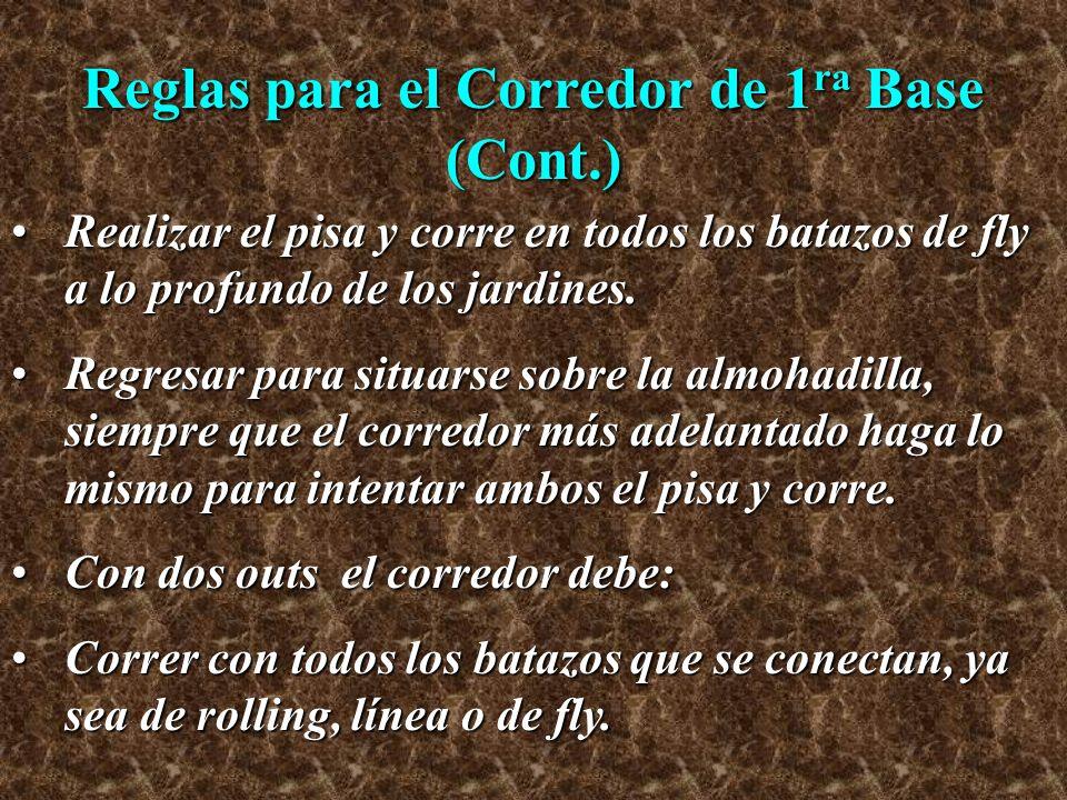 Reglas para el Corredor de 1 ra Base (Cont.) Realizar el pisa y corre en todos los batazos de fly a lo profundo de los jardines.Realizar el pisa y cor