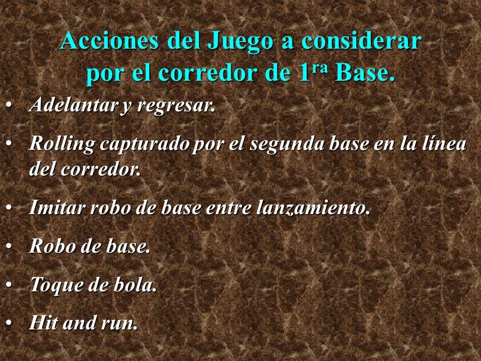 Acciones del Juego a considerar por el corredor de 1 ra Base (Cont.) Coger las señas del asistente.Coger las señas del asistente.