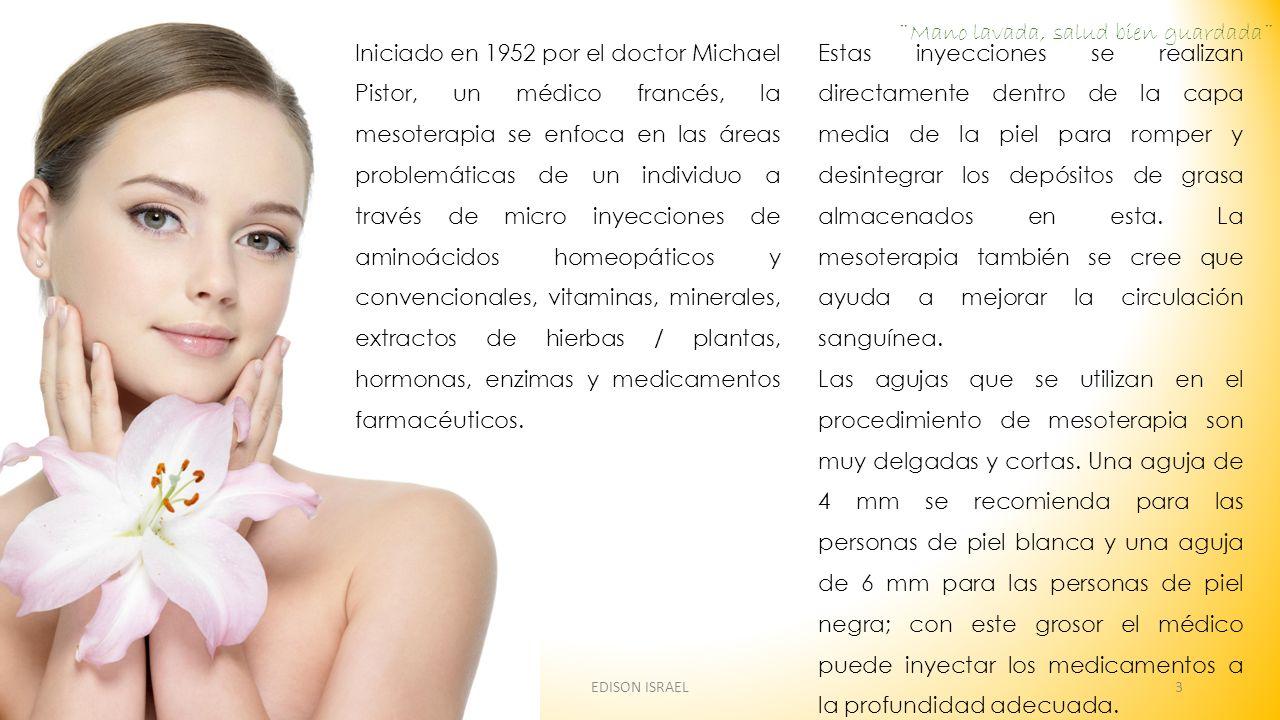 Iniciado en 1952 por el doctor Michael Pistor, un médico francés, la mesoterapia se enfoca en las áreas problemáticas de un individuo a través de micr