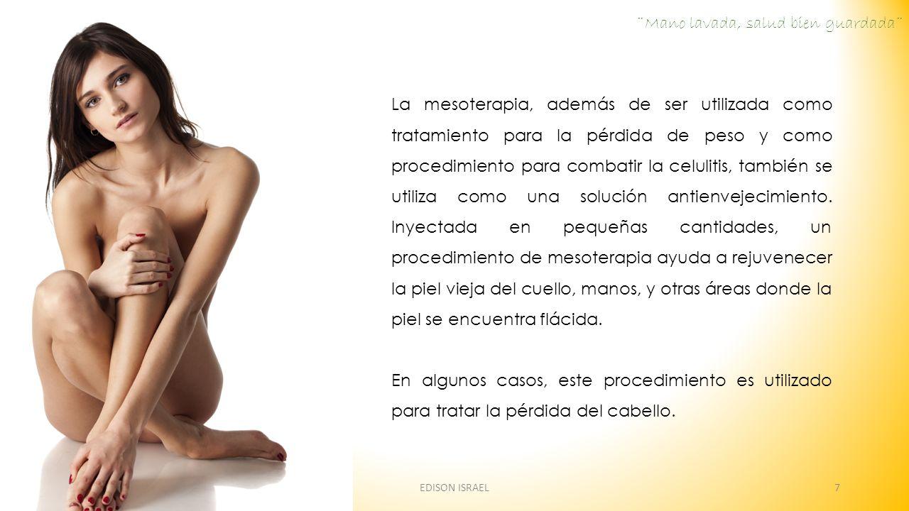 La mesoterapia, además de ser utilizada como tratamiento para la pérdida de peso y como procedimiento para combatir la celulitis, también se utiliza como una solución antienvejecimiento.