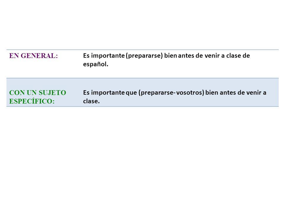 EN GENERAL: Es importante (prepararse) bien antes de venir a clase de español. CON UN SUJETO ESPECÍFICO: Es importante que (prepararse- vosotros) bien