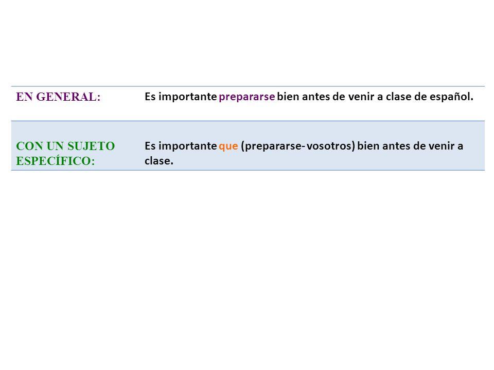 EN GENERAL: Es importante prepararse bien antes de venir a clase de español. CON UN SUJETO ESPECÍFICO: Es importante que (prepararse- vosotros) bien a