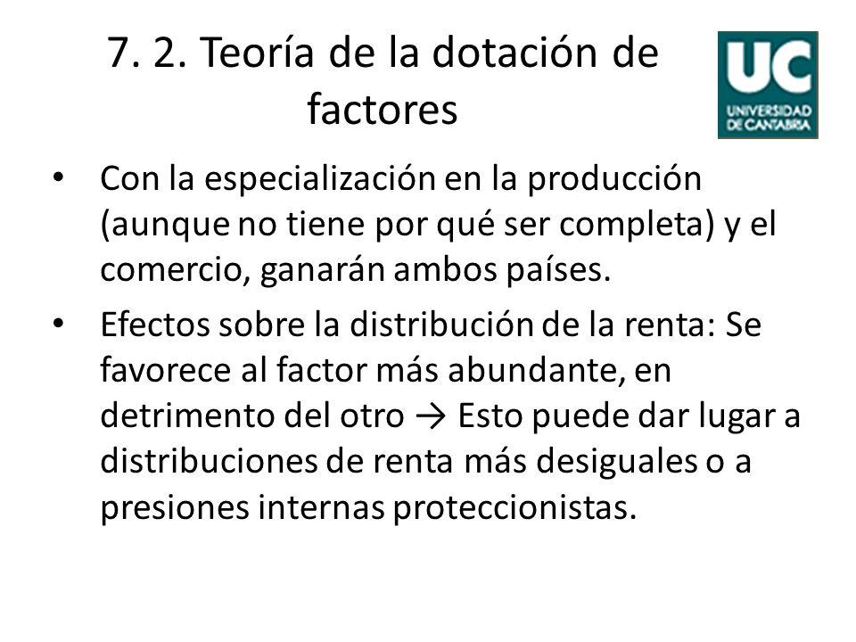 7. 2. Teoría de la dotación de factores Con la especialización en la producción (aunque no tiene por qué ser completa) y el comercio, ganarán ambos pa