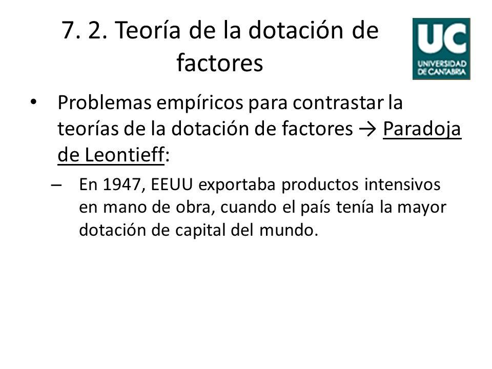 7. 2. Teoría de la dotación de factores Problemas empíricos para contrastar la teorías de la dotación de factores Paradoja de Leontieff: – En 1947, EE