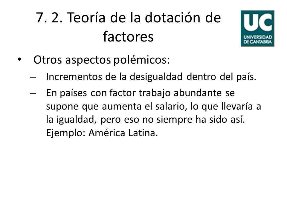 7. 2. Teoría de la dotación de factores Otros aspectos polémicos: – Incrementos de la desigualdad dentro del país. – En países con factor trabajo abun