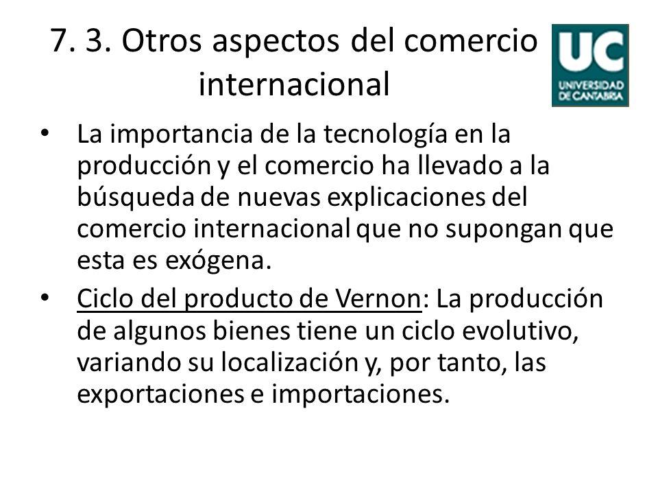 7. 3. Otros aspectos del comercio internacional La importancia de la tecnología en la producción y el comercio ha llevado a la búsqueda de nuevas expl