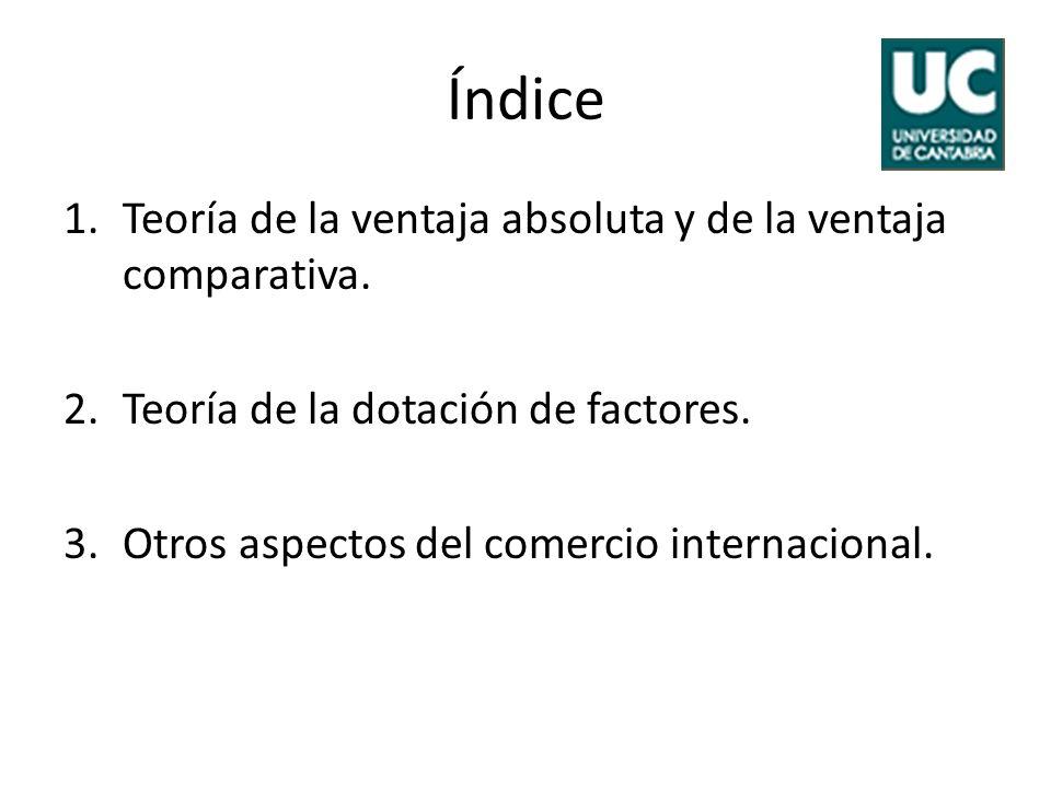 Índice 1.Teoría de la ventaja absoluta y de la ventaja comparativa. 2.Teoría de la dotación de factores. 3.Otros aspectos del comercio internacional.