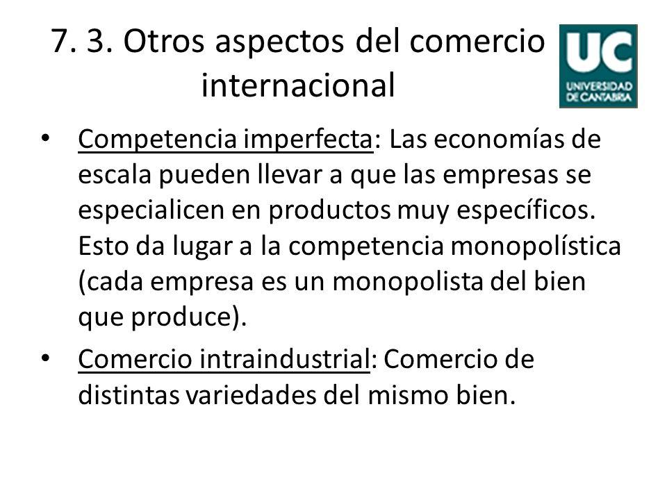 7. 3. Otros aspectos del comercio internacional Competencia imperfecta: Las economías de escala pueden llevar a que las empresas se especialicen en pr