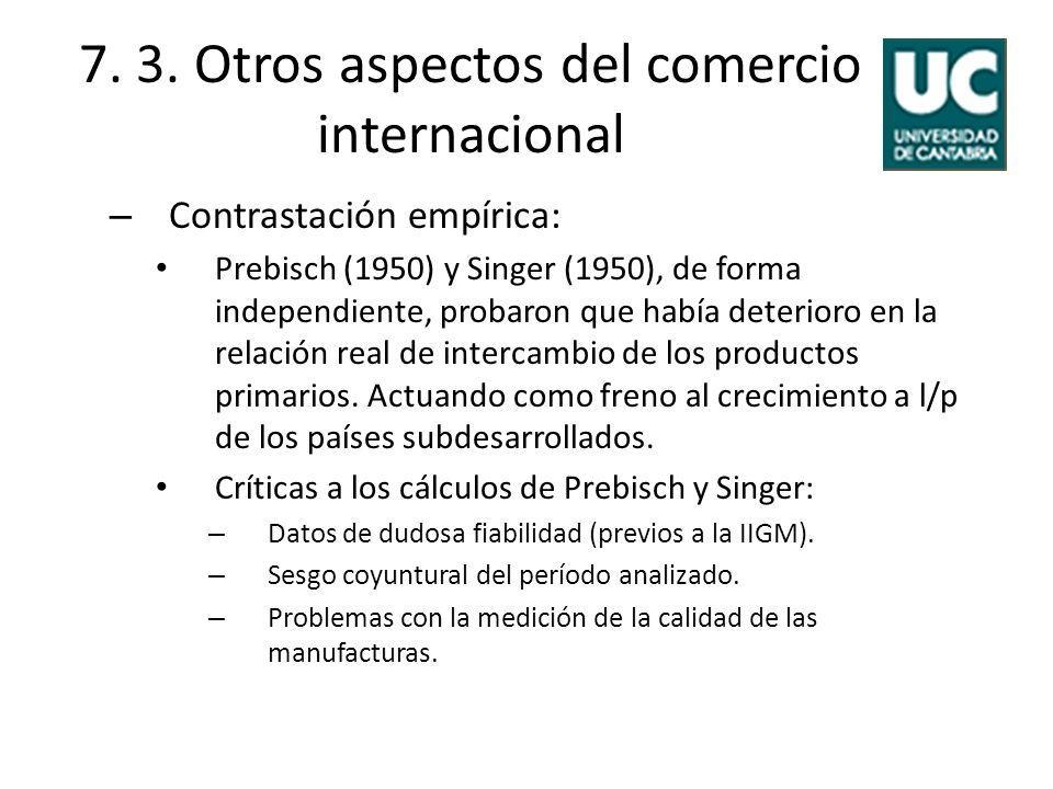 7. 3. Otros aspectos del comercio internacional – Contrastación empírica: Prebisch (1950) y Singer (1950), de forma independiente, probaron que había