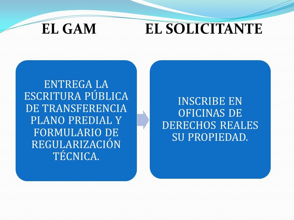 EL GAM EL SOLICITANTE ENTREGA LA ESCRITURA PÚBLICA DE TRANSFERENCIA PLANO PREDIAL Y FORMULARIO DE REGULARIZACIÓN TÉCNICA. INSCRIBE EN OFICINAS DE DERE