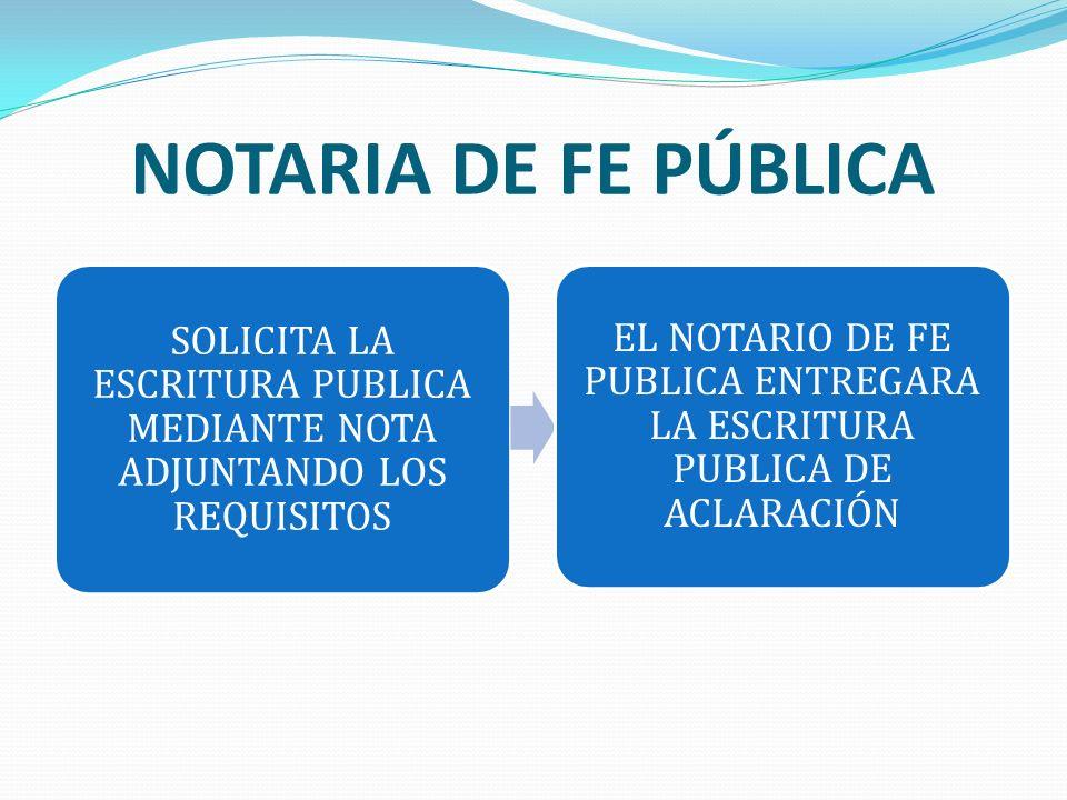 NOTARIA DE FE PÚBLICA SOLICITA LA ESCRITURA PUBLICA MEDIANTE NOTA ADJUNTANDO LOS REQUISITOS EL NOTARIO DE FE PUBLICA ENTREGARA LA ESCRITURA PUBLICA DE