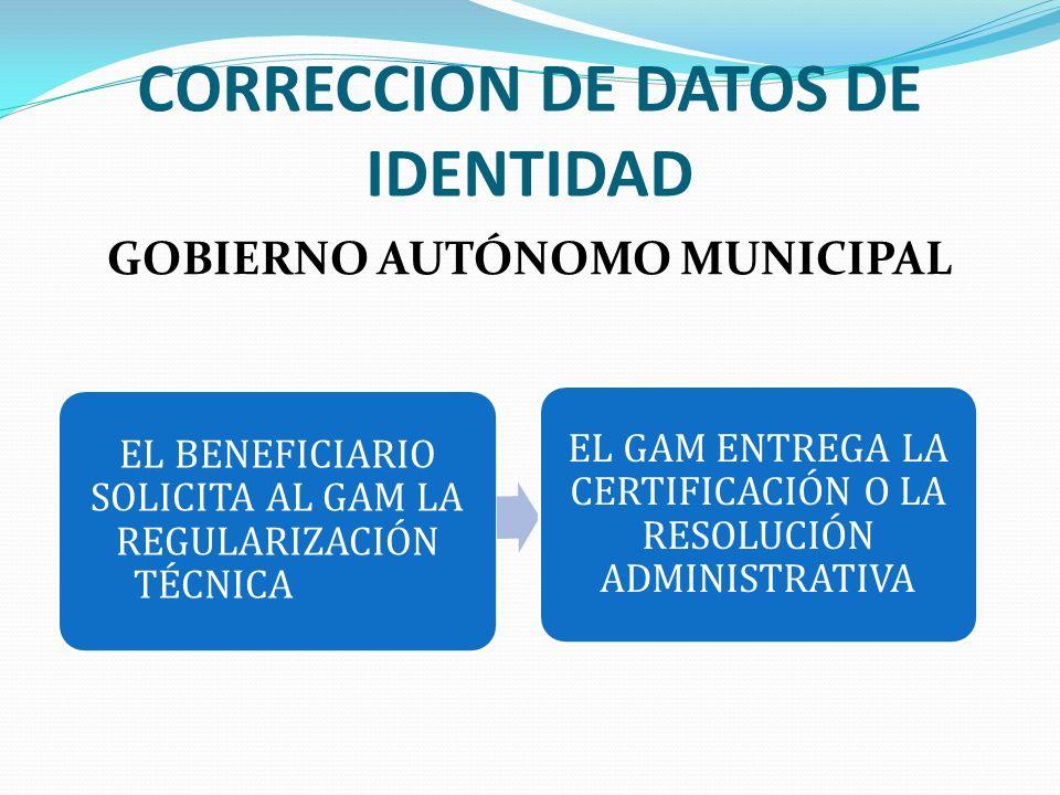 CORRECCION DE DATOS DE IDENTIDAD GOBIERNO AUTÓNOMO MUNICIPAL EL BENEFICIARIO SOLICITA AL GAM LA REGULARIZACIÓN TÉCNICA EL GAM ENTREGA LA CERTIFICACIÓN