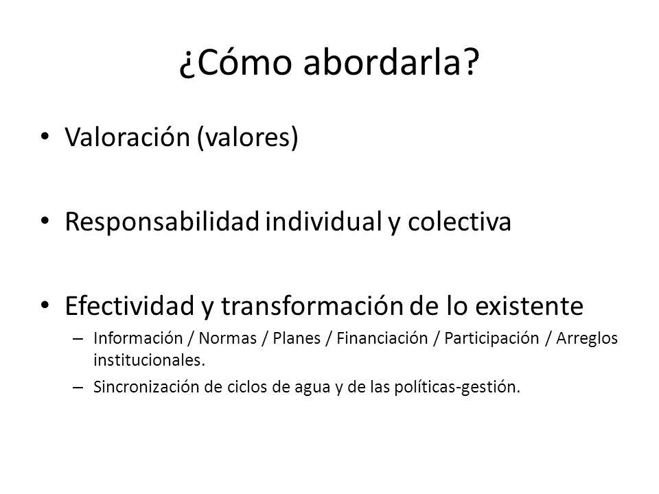 ¿Cómo abordarla? Valoración (valores) Responsabilidad individual y colectiva Efectividad y transformación de lo existente – Información / Normas / Pla