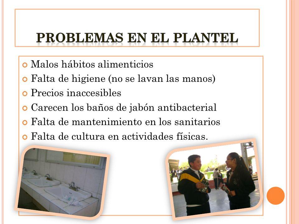 Malos hábitos alimenticios Falta de higiene (no se lavan las manos) Precios inaccesibles Carecen los baños de jabón antibacterial Falta de mantenimien
