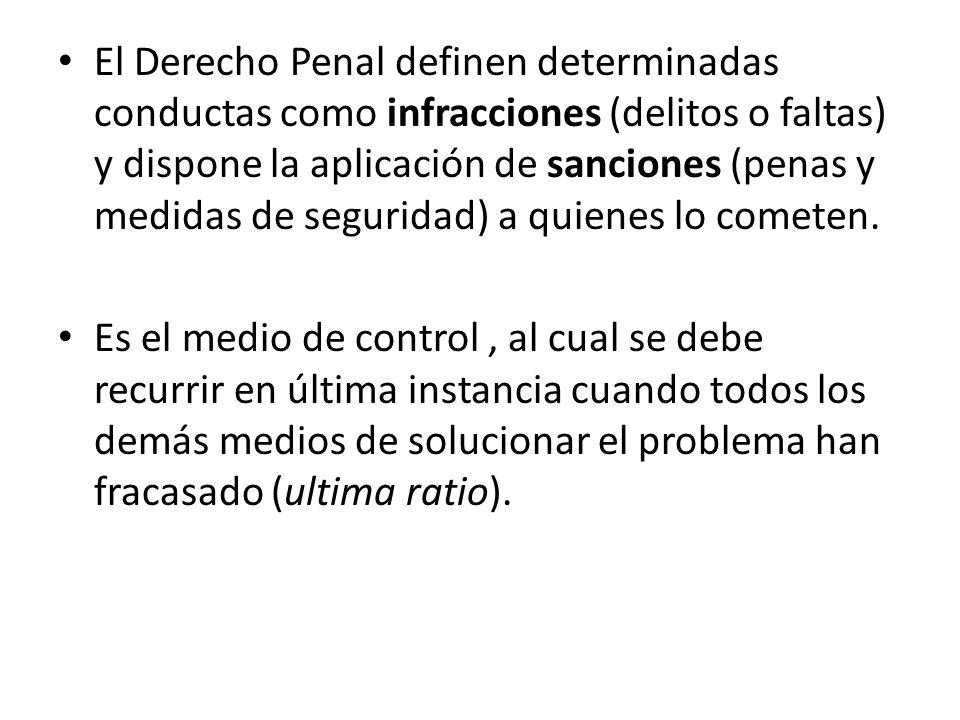 El Derecho Penal definen determinadas conductas como infracciones (delitos o faltas) y dispone la aplicación de sanciones (penas y medidas de segurida
