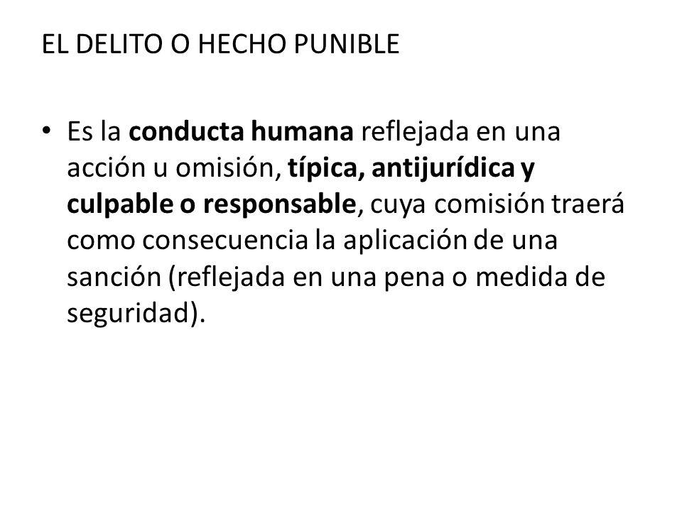 EL DELITO O HECHO PUNIBLE Es la conducta humana reflejada en una acción u omisión, típica, antijurídica y culpable o responsable, cuya comisión traerá