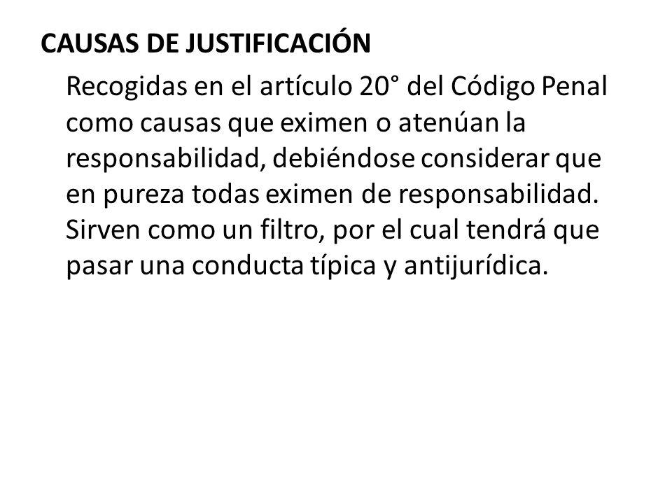 CAUSAS DE JUSTIFICACIÓN Recogidas en el artículo 20° del Código Penal como causas que eximen o atenúan la responsabilidad, debiéndose considerar que e