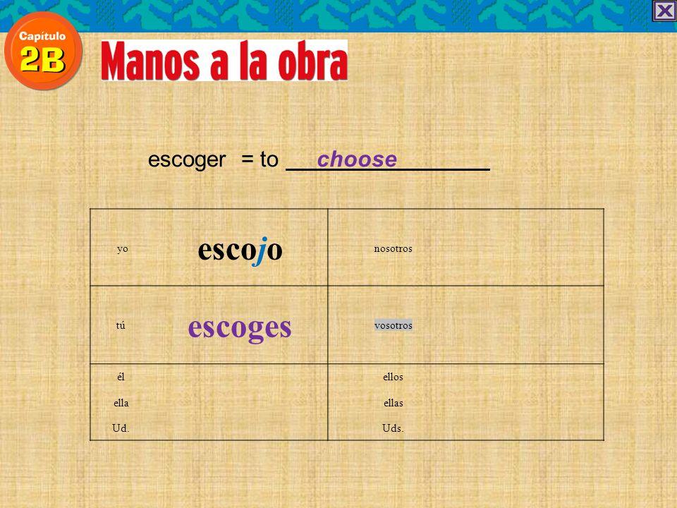 escoger = to choose escojo yonosotros escoges túvosotros élellos ellaellas Ud.Uds.
