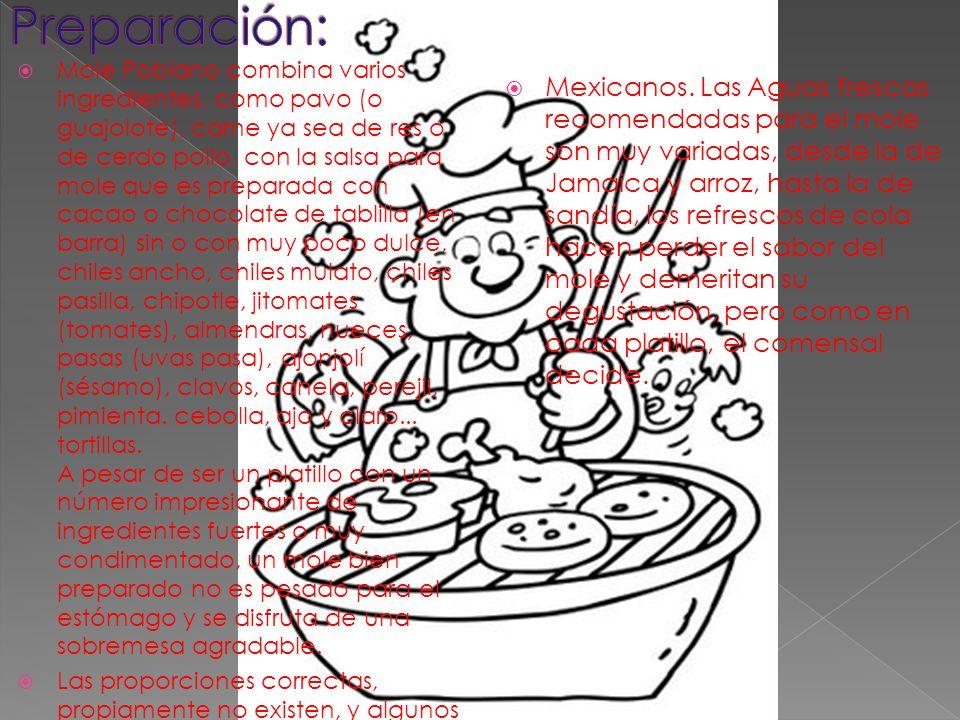 Mole Poblano combina varios ingredientes, como pavo (o guajolote), carne ya sea de res o de cerdo pollo, con la salsa para mole que es preparada con c