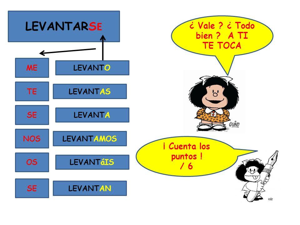 LEVANTARS E ME TE SE NOS OS SE LEVANTO LEVANTAS LEVANTA LEVANTAMOS LEVANTáIS LEVANTAN ¿ Vale .