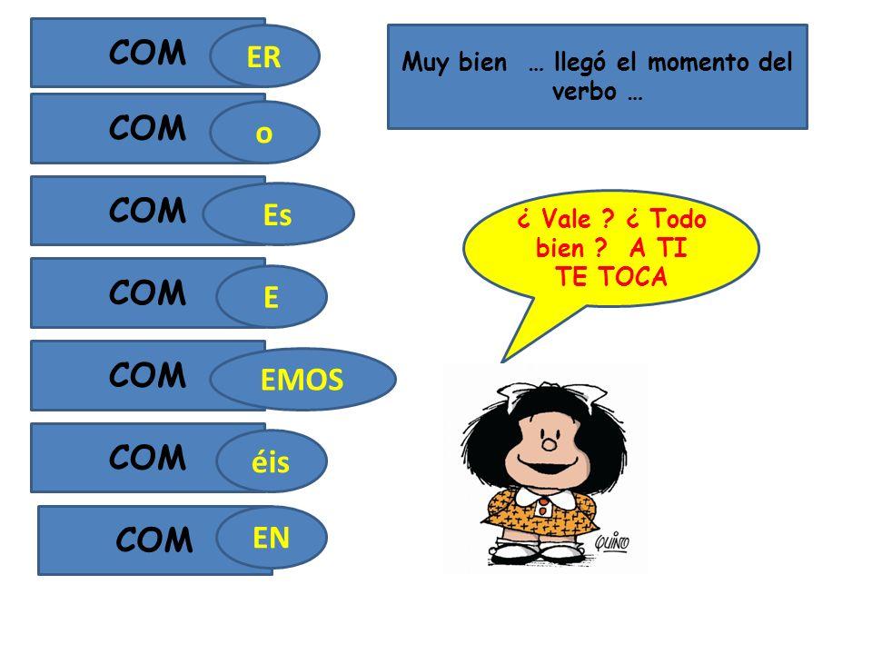 Muy bien … llegó el momento del verbo … COM ER Es o E EMOS éis COM EN ¿ Vale .
