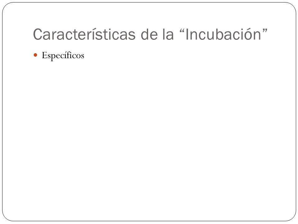 Características de la Incubación Específicos
