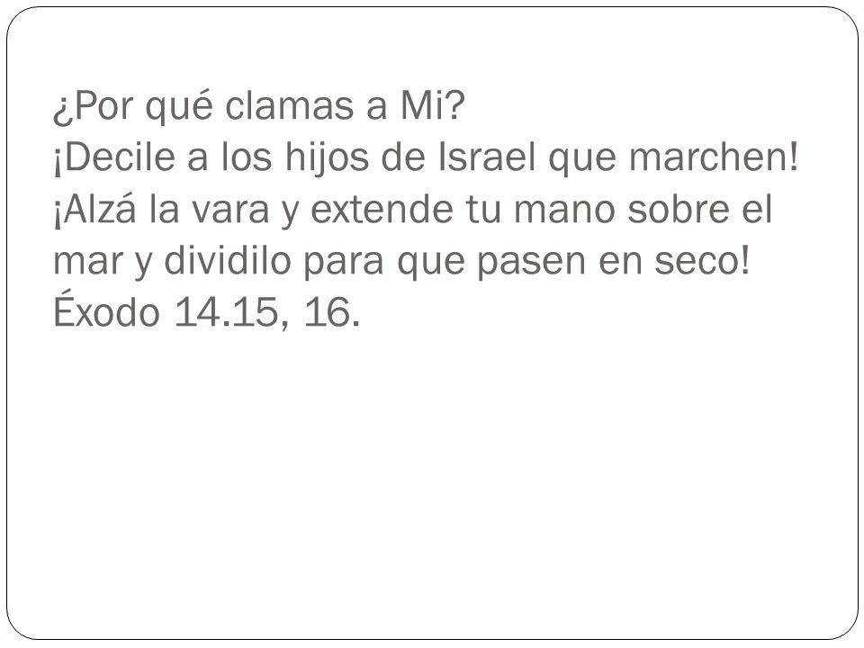 ¿Por qué clamas a Mi? ¡Decile a los hijos de Israel que marchen! ¡Alzá la vara y extende tu mano sobre el mar y dividilo para que pasen en seco! Éxodo