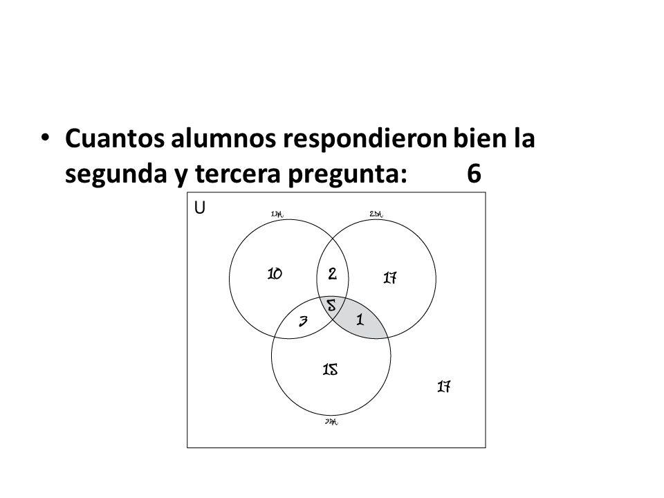 Cuantos alumnos respondieron bien la primera y tercera pregunta: 8