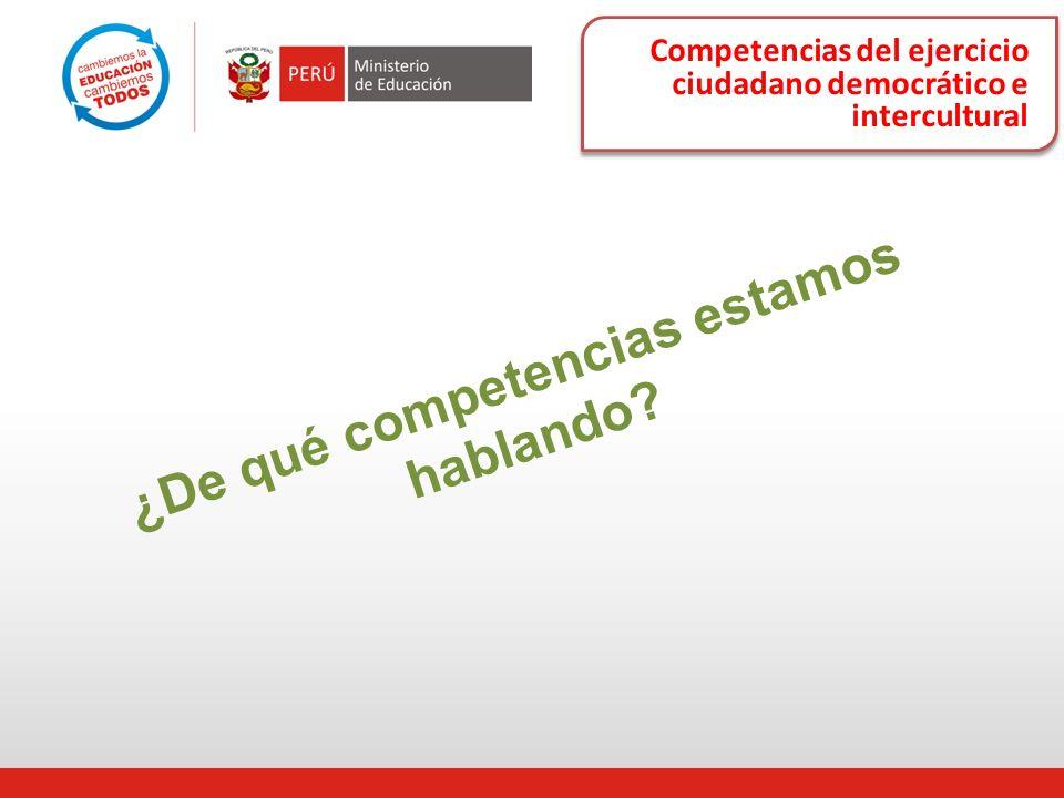 Competencias del ejercicio ciudadano democrático e intercultural ¿De qué competencias estamos hablando?