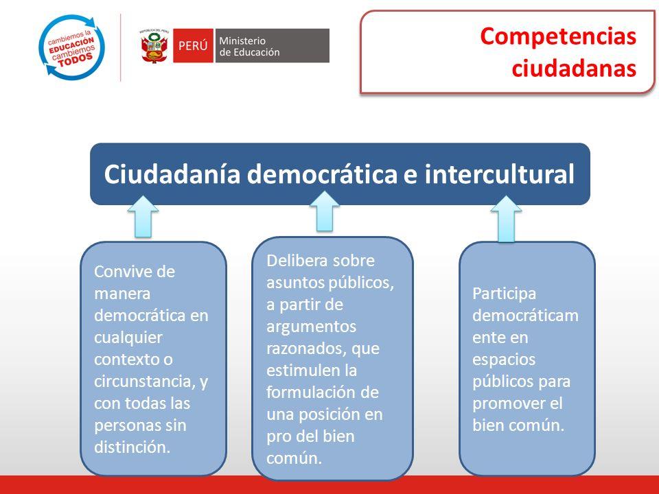 Competencias ciudadanas Ciudadanía democrática e intercultural Convive de manera democrática en cualquier contexto o circunstancia, y con todas las pe