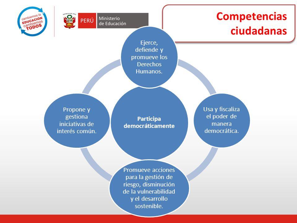 Competencias ciudadanas Participa democráticamente Ejerce, defiende y promueve los Derechos Humanos. Usa y fiscaliza el poder de manera democrática. P