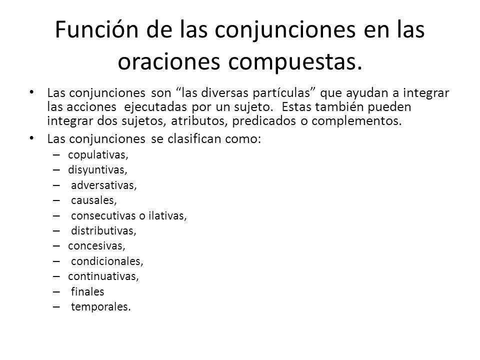 Función de las conjunciones en las oraciones compuestas. Las conjunciones son las diversas partículas que ayudan a integrar las acciones ejecutadas po