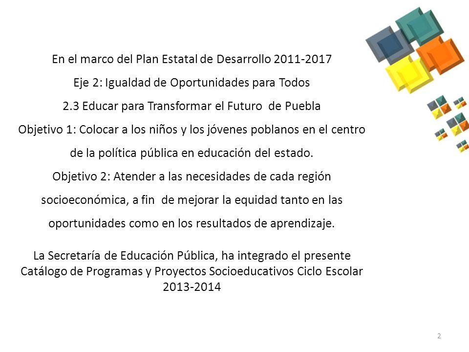 El Catálogo de Programas y Proyectos Socioeducativos se ha elaborado con el propósito de hacer más eficientes las acciones de apoyo a la formación de los alumnos y la comunidad educativa en general.