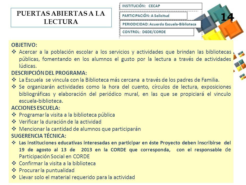 OBJETIVO: Promover el registro y atención de adultos analfabetas a través de los Consejos Escolares de Participación Social.