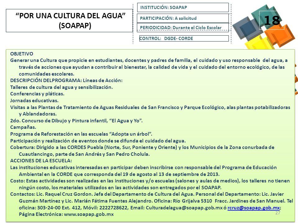 OBJETIVO: Sensibilizar a los alumnos sobre su relación con los servicios ambientales que brinda el Parque Nacional Iztaccíhuatl Popocatépetl, difundir las acciones llevadas a cabo actualmente de Restauración, Protección y Conservación de los Recursos Naturales del Parque, que buscan asegurar la infiltración de agua a los mantos acuíferos.